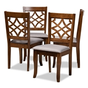 Baxton Studio Mael Modern and Contemporary Grey Fabric Upholstered Walnut Brown Finished Wood 4-Piece Dining Chair Set Baxton Studio restaurant furniture, hotel furniture, commercial furniture, wholesale dining room furniture, wholesale dining chairs, classic dining chairs