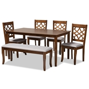 Baxton Studio Dori Modern and Contemporary Grey Fabric Upholstered and Walnut Brown Finished Wood 6-Piece Dining Set Baxton Studio restaurant furniture, hotel furniture, commercial furniture, wholesale dining furniture, wholesale dining sets, classic dining sets