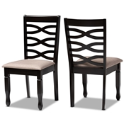 Baxton Studio Lanier Modern and Contemporary Sand Fabric Upholstered Dark Brown Finished 2-Piece Wood Dining Chair Set Baxton Studio restaurant furniture, hotel furniture, commercial furniture, wholesale dining room furniture, wholesale dining chairs, classic dining chairs