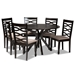 Baxton Studio Mila Modern and Contemporary Sand Fabric Upholstered Dark Brown Finished Wood 7-Piece Dining Set