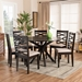 Baxton Studio Mila Modern and Contemporary Sand Fabric Upholstered Dark Brown Finished Wood 7-Piece Dining Set - IEMila-Sand/Dark Brown-7PC Dining Set