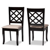 Baxton Studio Verner Modern and Contemporary Sand Fabric Upholstered Dark Brown Finished 2-Piece Wood Dining Chair Set Baxton Studio restaurant furniture, hotel furniture, commercial furniture, wholesale dining room furniture, wholesale dining chairs, classic dining chairs