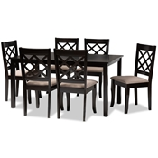 Baxton Studio Verner Modern and Contemporary Sand Fabric Upholstered Dark Brown Finished 7-Piece Wood Dining Set