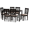 Baxton Studio Verner Modern and Contemporary Sand Fabric Upholstered Dark Brown Finished 7-Piece Wood Dining Set Baxton Studio restaurant furniture, hotel furniture, commercial furniture, wholesale dining room furniture, wholesale dining set, classic dining set