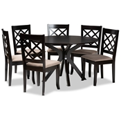 Baxton Studio Jana Modern and Contemporary Sand Fabric Upholstered and Dark Brown Finished Wood 7-Piece Dining Set