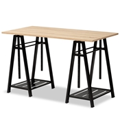 Baxton Studio Mary Modern and Industrial Light Oak Finished Wood and Black Metal Height Adjustable Desk Baxton Studio restaurant furniture, hotel furniture, commercial furniture, wholesale home furniture, wholesale desk, classic desk