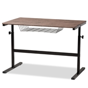 Baxton Studio Anisa Modern and Industrial Walnut Finished Wood and Black Metal Height Adjustable Desk Baxton Studio restaurant furniture, hotel furniture, commercial furniture, wholesale home furniture, wholesale desk, classic desk