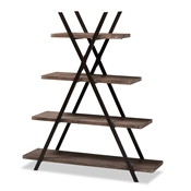 Baxton Studio Fiera Industrial Rustic Walnut Finished Wood and Black Metal 4-Tier Living Room Display Shelf