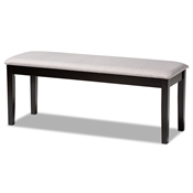 Baxton Studio Teresa Modern and Contemporary Transitional Grey Fabric Upholstered and Dark Brown Finished Wood Dining Bench
