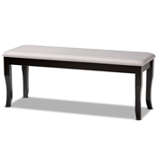 Baxton Studio Cornelie Modern and Contemporary Transitional Grey Fabric Upholstered and Dark Brown Finished Wood Dining Bench