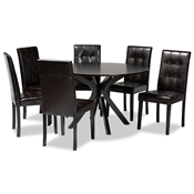 Baxton Studio Marie Modern and Contemporary Dark Brown Faux Leather Upholstered and Dark brown Finished Wood 7-Piece Dining Set