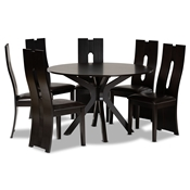 Baxton Studio Kenyon Modern and Contemporary Dark Brown Faux Leather Upholstered and Dark Brown Finished Wood 7-Piece Dining Set