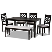 Baxton Studio Gustavo Modern and Contemporary Grey Fabric Upholstered and Dark Brown Finished Wood 6-Piece Dining Set Baxton Studio restaurant furniture, hotel furniture, commercial furniture, wholesale dining furniture, wholesale dining sets, classic dining sets