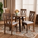 Baxton Studio Pia Modern and Contemporary Grey Fabric Upholstered and Walnut Brown Finished Wood 5-Piece Dining Set - IEPia-Grey/Walnut-5PC Dining Set