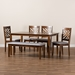 Baxton Studio Gustavo Modern and Contemporary Grey Fabric Upholstered and Walnut Brown Finished Wood 6-Piece Dining Set - IERH317C-Grey/Walnut-6PC Dining Set