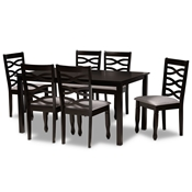 Baxton Studio Lanier Modern and Contemporary Grey Fabric Upholstered and Dark Brown Finished Wood 7-Piece Dining Set