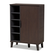 Baxton Studio Idina Mid-Century Modern Two-Tone Dark Brown and Grey Finished Wood 1-Door Shoe Cabinet