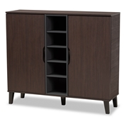 Baxton Studio Idina Mid-Century Modern Two-Tone Dark Brown and Grey Finished Wood 2-Door Shoe Cabinet