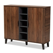 Baxton Studio Idina Mid-Century Modern Two-Tone Walnut Brown and Grey Finished Wood 2-Door Shoe Cabinet