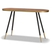 Baxton Studio Lauro Modern and Contemporary Walnut Wood Finished and Two-Tone Gold and Black Metal Console Table