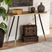 Baxton Studio Lauro Modern and Contemporary Walnut Wood Finished and Two-Tone Gold and Black Metal Console Table - IERS1210-W-Console