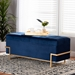 Baxton Studio Parker Glam and Luxe Navy Blue Velvet Upholstered and Gold Metal Finished Storage Ottoman - IEJY20A122L-Navy Blue/Gold-Storage Otto