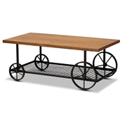 Baxton Studio Ursa Vintage Rustic Industrial Walnut Brown Finished Wood and Black Finished Metal Wheeled Coffee Table