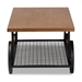 Baxton Studio Ursa Vintage Rustic Industrial Walnut Brown Finished Wood and Black Finished Metal Wheeled Coffee Table - IETDA-7003-CT