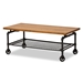 Baxton Studio Tamara Vintage Rustic Industrial Walnut Brown Finished Wood and Black Finished Metal Wheeled Coffee Table