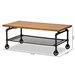 Baxton Studio Tamara Vintage Rustic Industrial Walnut Brown Finished Wood and Black Finished Metal Wheeled Coffee Table - IEYLX-2729-CT