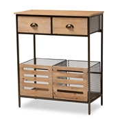 Baxton Studio Abram Modern Farmhouse Industrial Oak Brown Finished Wood and Black Metal 2-Drawer Multipurpose Kitchen Storage Cabinet