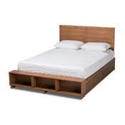 Baxton Studio Alba Modern Transitional Ash Walnut Brown Finished Wood Queen Size 4-Drawer Platform Storage Bed with Built-In Shelves