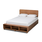 Baxton Studio Vita Modern Transitional Ash Walnut Brown Finished Wood 4-Drawer King Size Platform Storage Bed
