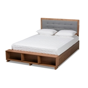 Baxton Studio Cosma Modern Transitional Ash Walnut Brown Finished Wood 4-Drawer King Size Platform Storage Bed