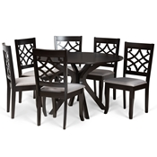 Baxton Studio Elena Modern and Contemporary Grey Fabric Upholstered and Dark Brown Finished Wood 7-Piece Dining Set