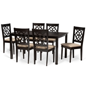 Baxton Studio Renaud Modern and Contemporary Sand Fabric Upholstered and Dark Brown Finished Wood 7-Piece Dining Set