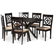 Baxton Studio Sadie Modern and Contemporary Sand Fabric Upholstered and Dark Brown Finished Wood 7-Piece Dining Set