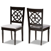 Baxton Studio Renaud Modern and Contemporary Grey Fabric Upholstered and Dark Brown Finished Wood 2-Piece Dining Chair Set