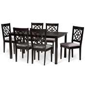 Baxton Studio Renaud Modern and Contemporary Grey Fabric Upholstered and Dark Brown Finished Wood 7-Piece Dining Set