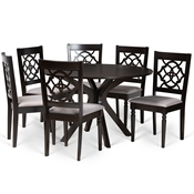 Baxton Studio Sadie Modern and Contemporary Grey Fabric Upholstered and Dark Brown Finished Wood 7-Piece Dining Set