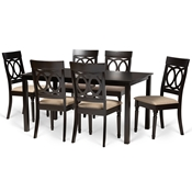 Baxton Studio Lucie Modern and Contemporary Sand Fabric Upholstered and Dark Brown Finished Wood 7-Piece Dining Set
