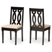 Baxton Studio Cherese Modern and Contemporary Sand Fabric Upholstered and Dark Brown Finished Wood 2-Piece Dining Chair Set