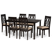 Baxton Studio Cherese Modern and Contemporary Sand Fabric Upholstered and Dark Brown Finished Wood 7-Piece Dining Set