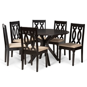 Baxton Studio Callie Modern and Contemporary Sand Fabric Upholstered and Dark Brown Finished Wood 7-Piece Dining Set