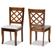 Baxton Studio Verner Modern and Contemporary Grey Fabric Upholstered Walnut Finished Wood 2-Piece Dining Chair Set