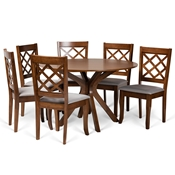 Baxton Studio Jana Modern and Contemporary Grey Fabric Upholstered and Walnut Brown Finished Wood 7-Piece Dining Set