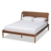 Baxton Studio Sadler Mid-Century Modern Ash Walnut Brown Finished Wood King Size Platform Bed