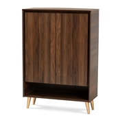 Baxton Studio Landen Mid-Century Modern Walnut Brown and Gold Finished Wood 2-Door Entryway Shoe storage Cabinet