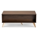 Baxton Studio Edel Mid-Century Modern Walnut Brown and Gold Finished Wood Coffee Table - IELV12CFT12140WI-Columbia/Gold-CT