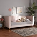 Baxton Studio Oksana Modern Contemporary Glam and Luxe Light Pink Velvet Fabric Upholstered and Gold Finished Twin Size Daybed - IECF0344-Light Pink Daybed-Twin